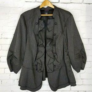Torrid gray ruffle jacket/blazer